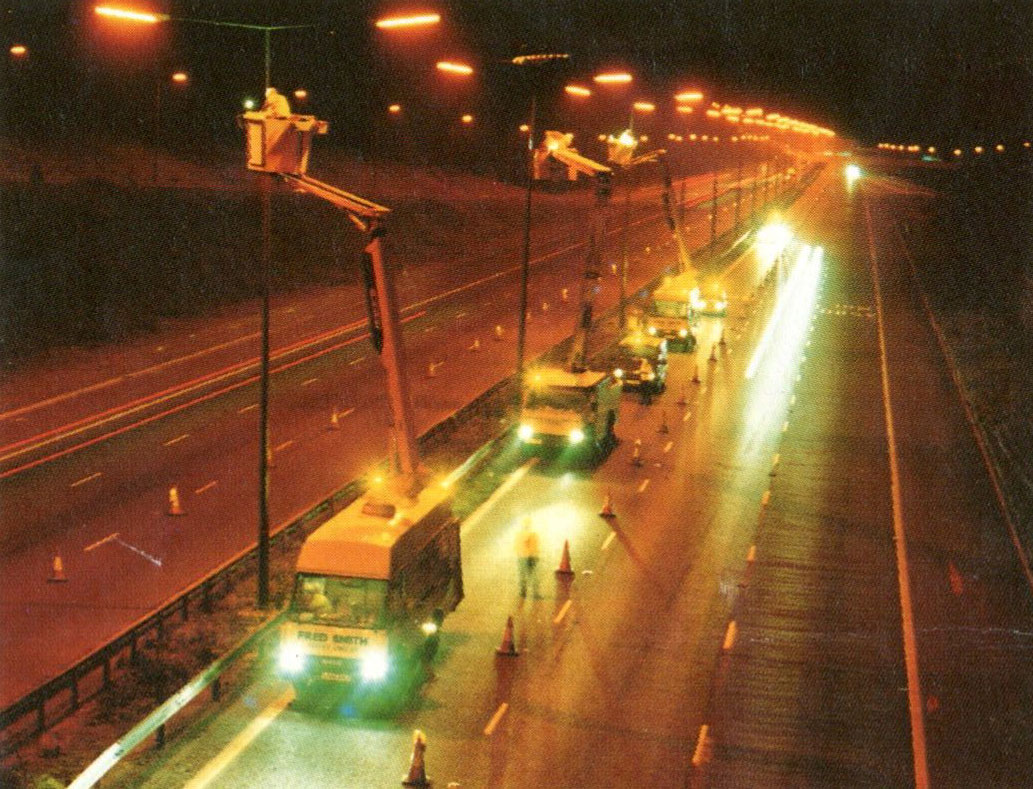 Lighting up a stretch of the M62 circa 1987
